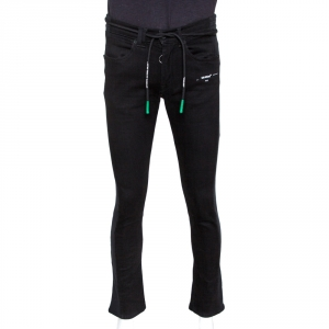 Off-White Black Reconstructed Denim Knit Panelled Jeans S