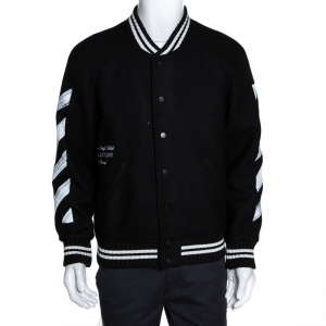 Off-White Black Wool Brushed Print Varsity Bomber Jacket XS