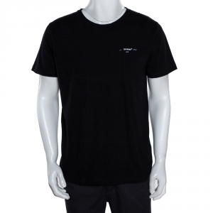 Off-White Black Cotton Arrow Logo Print T-Shirt M