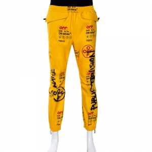 Off-White Yellow Graffiti Print Goretex Track Pants M
