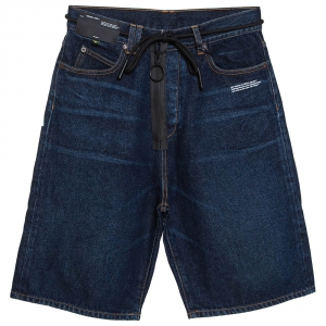 Off White Indigo Zipper & Drawstring Detail Denim Shorts M
