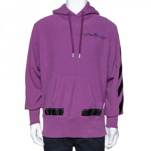Off White x Champion Purple Knit Logo Detail Hoodie M