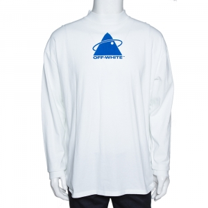 Off-White White Cotton Triangle Planet Print Oversized T-Shirt M - used