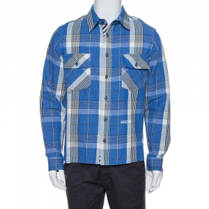 Off-White Blue Check Linen & Cotton Button Front Shirt S - used