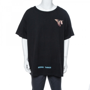 Off-White Black Eyes Print Cotton Crew Neck T-Shirt XXL