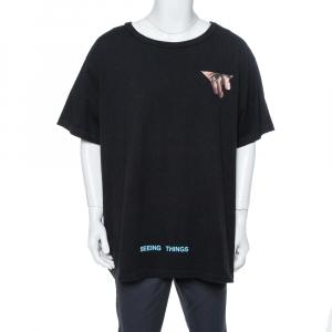 Off-White Black Eyes Print Cotton Crew Neck T-Shirt XXL - used