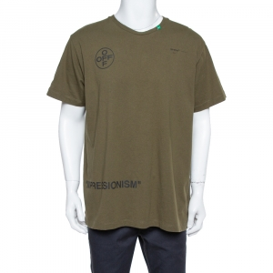 Off White Green Printed Cotton Oversized T Shirt XS - used