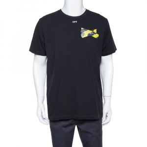 Off White Black Logo Caution Tape Printed Cotton T Shirt L - used