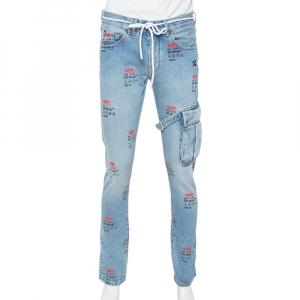 Off White Blue Denim Logo Printed Drawstring Detail Cargo Jeans M - used