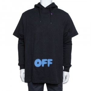 Off-White Black Blurred Off Print Cotton T-Shirt Detail Hoodie S - used