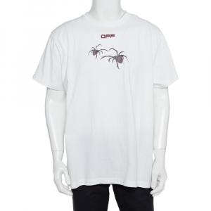 Off-White White Cotton Arachno Arrow Printed Crewneck Oversized T-Shirt XS - used