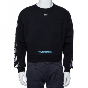 Off-White Black Cotton Temperature Logo Printed Oversized Crewneck Sweatshirt S