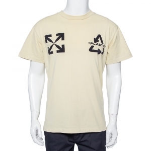 Off White Cream Cotton Universal Key Embroidered Crewneck T-shirt XXS - used