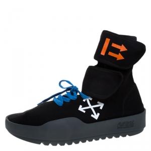 Off-White Black Knit Fabric Moto Wrap Sneakers Size 42