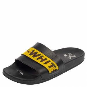 Off-White Black Leather Logo Slide Sandals Size 42
