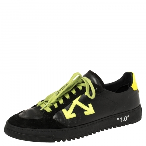 OFF-WHITE Black/Neon Leather And Suede Vulcanized Low Top Sneakers Size 43