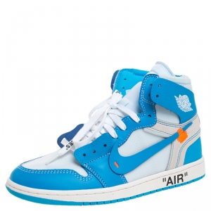 Nike x Off White Blue Leather/Mesh Air Jordan 1 Retro High Top Sneakers Size 42