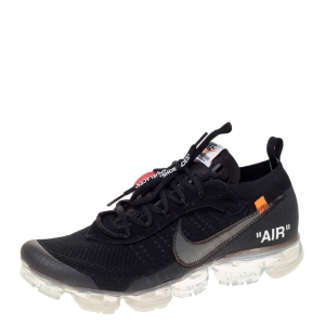 Nike x Off White Black Knit Fabric And Suede Air Vapormax Flyknit Sneakers Size 45.5