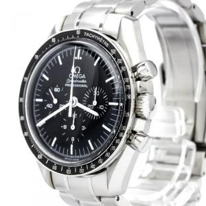 Omega Black Stainless Steel Speedmaster Professional Moonwatch Men's Wristwatch 42MM