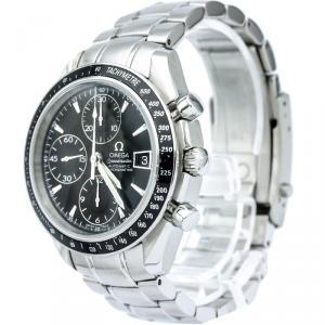 Omega Black Stainless Steel Speedmaster Men's Wristwatch 39MM