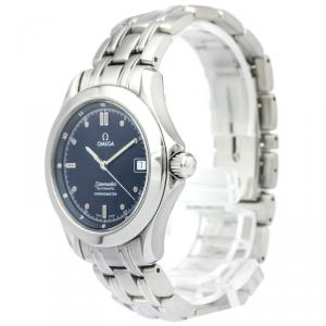 Omega Navy Blue Stainless Steel Seamaster Men's Wristwatch 36MM