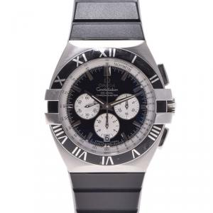 Omega Black Stainless Steel Constellation Double Eagle Men's Wristwatch 40MM