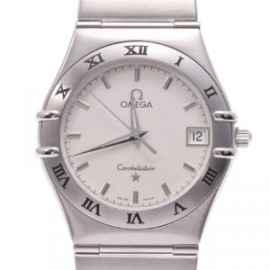 Omega White Stainless Steel Constellation Men's Wristwatch 33MM