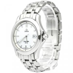 Omega White Stainless Steel Seamaster Men's Wristwatch 36MM
