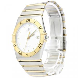 Omega White 18K Yellow Gold and Stainless Steel Constellation Men's Wristwatch 33MM