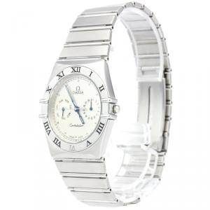Omega Silver Stainless Steel Constellation Men's Wristwatch 35MM