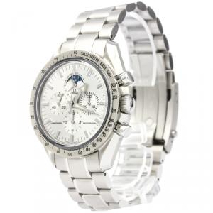 Omega Silver 18K White Gold and Stainless Steel Speedmaster Men's Wristwatch 42MM