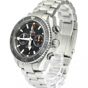 Omega Black Stainless Steel Seamaster Planet Ocean Co-Axial Chronograph Men's Wristwatch 45.5MM