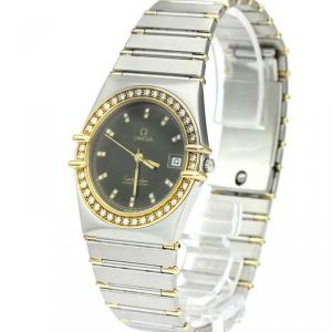Omega Black 18K Yellow Gold and Stainless Steel Diamond Constellation Men's Wristwatch 33MM