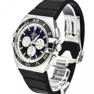 Omega Black Stainless Steel Constellation Double Eagle Co-Axial Chronograph Men's Wristwatch 41MM
