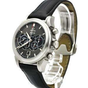 Omega Grey Stainless Steel De Ville Chronoscope Co-Axial 4-Counters Chronograph Men's Wristwatch 41MM