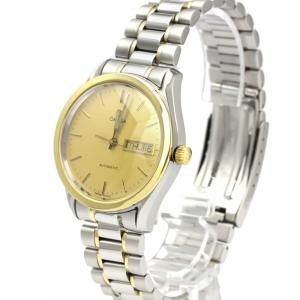 Omega Champagne 18K Yellow Gold and Stainless Steel Classic Day Date 166.0299 Men's Wristwatch 35MM