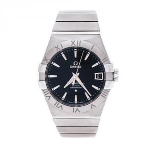 Omega Black Stainless Steel Constellation Men's Wristwatch 38 mm