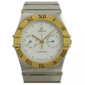 Omega White 18K Yellow Gold and Stainelss Steel Constellation Day Date Men's Wristwatch 34MM