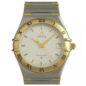 Omega Silver Gold Plated Stainless Steel Constellation Men's Wristwatch 34MM