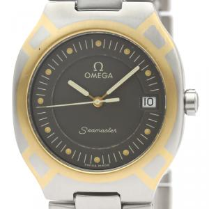 Omega Black Stainless Steel 18K Yellow Gold Seamaster Polaris 396.1022 Men's Wristwatch 31MM