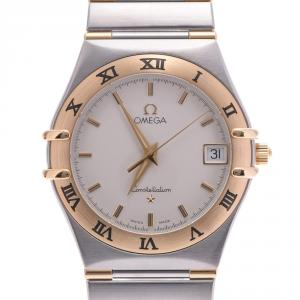 Omega White 18K Yellow Gold And Stainless Steel Constellation 1212.30 Men's Wristwatch  31 MM