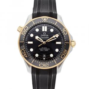 Omega Black 18K Yellow Gold And Stainless Steel Seamaster Diver 300m 210.22.42.20.01.001 Men's Wristwatch 42 MM
