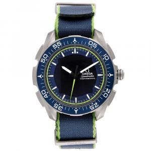 """ساعة يد رجالية أوميغا """"سبيدماستر سكايوالكر اكس-33 سولار ايمبولس 318.92.45.79.03.001"""" تيتانيوم زرقاء 45 مم"""