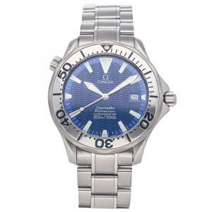 """ساعة يد رجالية أوميغا """"سيماستر2255.80.00"""" ستانلس ستيل زرقاء 41 مم"""