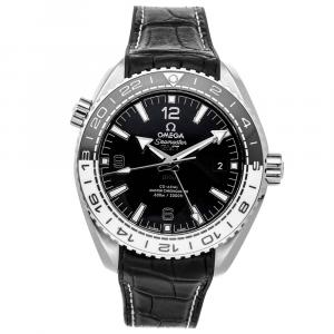 Omega Black Stainless Steel Seamaster Planet Ocean 600m GMT 215.33.44.22.01.001 Men's Wristwatch 43.5 MM