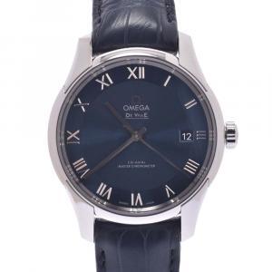 """ساعة يد رجالية أوميغا """"ديفيل كو-اكسيال اور فيجون 433.13.41.21.03.001 أوتوماتيك"""" ستانلس ستيل زرقاء 41 مم"""
