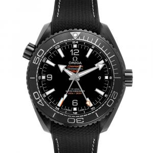 Omega Black Ceramic Planet Ocean Deep GMT 215.92.46.22.01.001 Men's Wristwatch 45.5 MM