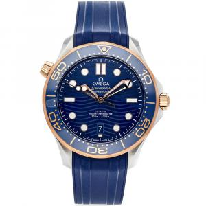 Omega Blue 18K Rose Gold And Stainless Steel Seamaster Diver 300m 210.22.42.20.03.002 Men's Wristwatch 42 MM