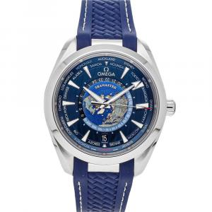 Omega Blue Stainless Steel Seamaster Aqua Terra 150m GMT Worldtimer 220.12.43.22.03.001 Men's Wristwatch 43 MM