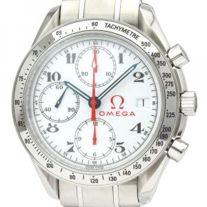 Omega White Stainless Steel Speedmaster Date 3515.20 Automatic Men's Wristwatch 39 MM